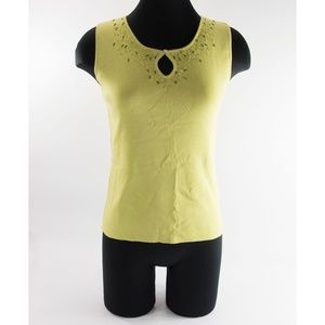 Rayon Lime Mother Of Pearl Beaded Tank Sweater M
